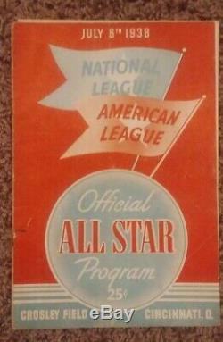 1938 Major League Baseball Official All Star Game Program Crosley Field 7/6/1938