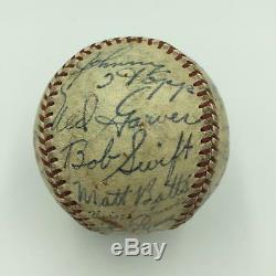 1952 Detroit Tigers Team Signed Official American League Harridge Baseball