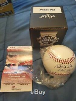 Autographed BOBBY COX HOF 14 Official Major League Baseball JSA Witnessed