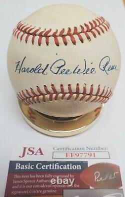 Autographed HAROLD PEE WEE REESE Official National League Baseball JSA COA