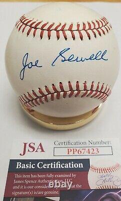 Autographed JOE SEWELL Official American League Baseball with JSA COA