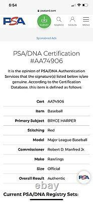 Bryce Harper Signed Official Major League Baseball PSA DNA Phillies Autographed