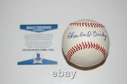 Charles O'finley Signed Rawlings Official American League Baseball Beckett Coa