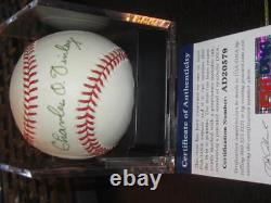 Charlie Finley Autographed Official Major League Baseball PSA COA Oakland A's