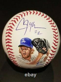 Clayton Kershaw Hand Painted & Signed Official Major League Baseball withJSA COA