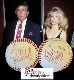 Donald Trump & Marla Maples Signed Official American League Baseball Jsa Loa