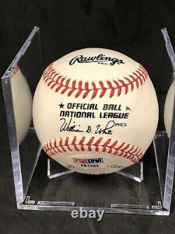 Hank Aaron Autographed Official National League Baseball (William White) PSA