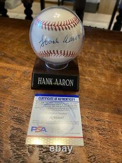 Hank Aaron Signed Official Major League Baseball Atlanta Braves Psa Dna Coa