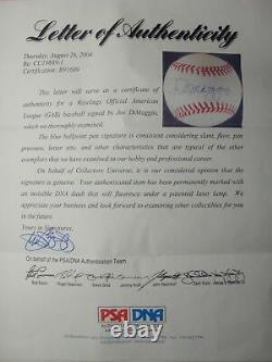 Joe Dimaggio Psa/dna Signed Official American League Baseball Autograph #b91609