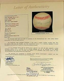 Mickey Mantle Signed Autographed Official American League Baseball JSA HOF