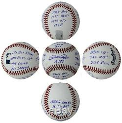 Pete Rose Signed Official Rawlings Major League Baseball 12 Stat Inscriptions
