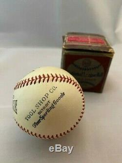 Rare 1930s HARWOOD Official National League Baseball with orig BOX Detroit Tool Co