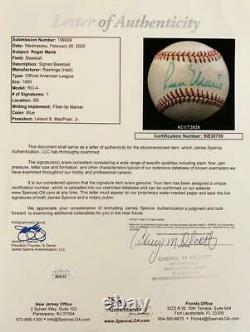 Roger Maris Single Signed Baseball. Official American League Ball. JSA