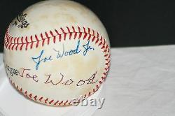 Smoky Joe Wood and Joe Wood Jr. Signed Rawlings Official League Baseball, JSA