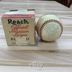 Vintage 1950's era Reach Official American League Harridge Baseball with box