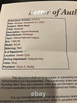 Willie Mays Signed Autographed Official National League Baseball JSA AUTHENTIC