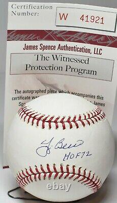 Yogi Berra Autographed Official Major League Baseball A's Yanks Hof 72 Jsa
